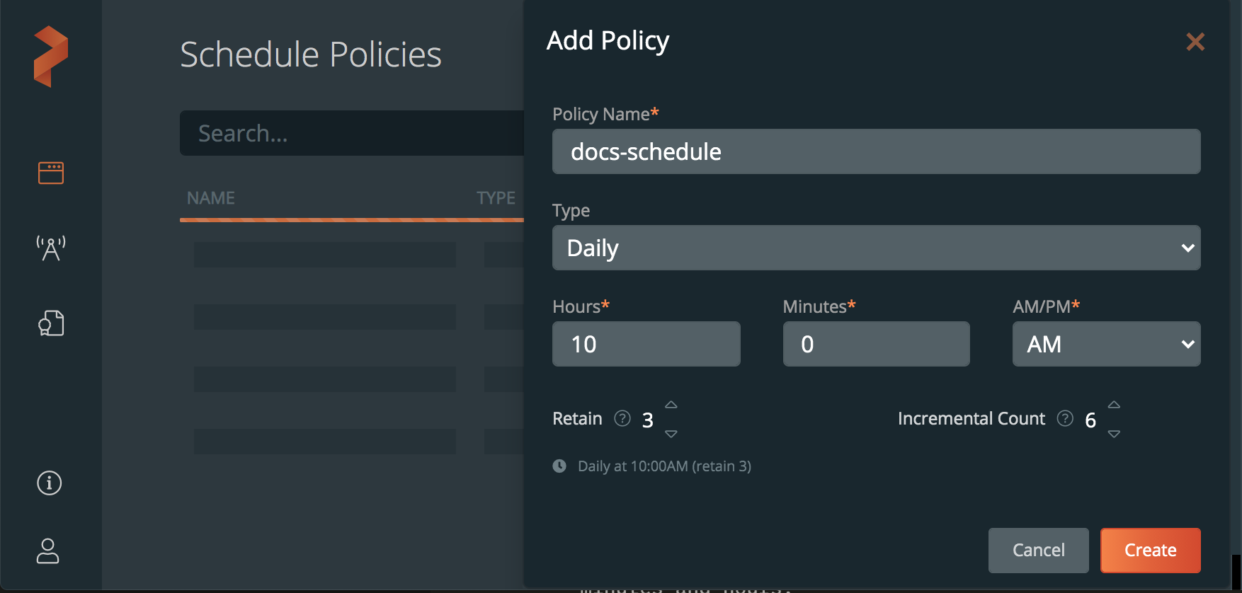Add schedule policy dialogue